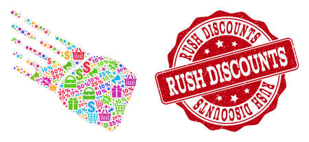 Trading collage of rush discounts mosaic and textured stamp seal. Mosaic rush discounts collage is designed with bright shopping bags, carts, dollars, discount percents, gifts, announces. Stock Illustratie