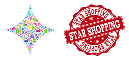Trading combination of shine star mosaic and rubber seal. Mosaic shine star collage is constructed with bright shopping bags, carts, dollars, discount percents, gifts, announces.