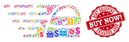 Trading combination of shopping bag mosaic and rubber stamp seal. Mosaic shopping bag collage is designed with colorful shopping bags, carts, dollars, discount percents, gifts, announces.