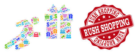 Trading composition of shopping running man mosaic and rubber stamp seal. Mosaic shopping running man collage is designed with colorful shopping bags, carts, dollars, discount percents, gifts, Stock Illustratie