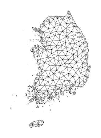 Polygonal mesh map of South Korea. Abstract mesh lines, triangles and points with map of South Korea. Vector wire frame 2D polygonal line network in black color. Carcass model for political purposes.