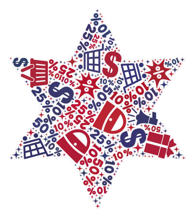 Mosaic six corner star designed with blue and red shopping symbols. Retail combination of mosaic six corner star icon. Flat design for shopping templates.