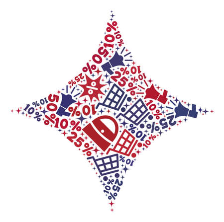 Mosaic shine star constructed with blue and red shopping symbols. Retail collage of mosaic shine star icon. Flat design for shopping illustrations.