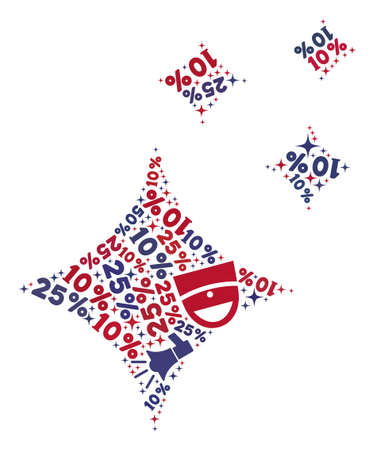 Mosaic shine stars designed with blue and red shopping symbols. Retail collage of mosaic shine stars icon. Flat design for shopping illustrations. 矢量图像