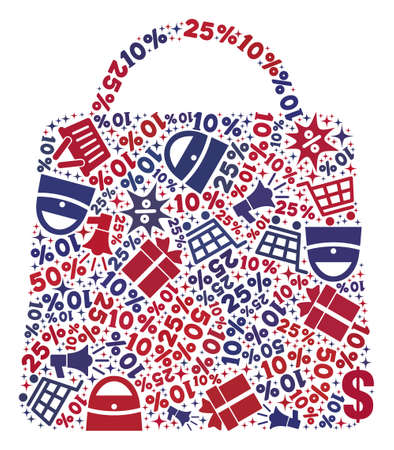 Mosaic shopping bag designed with blue and red shopping symbols. Retail composition of mosaic shopping bag icon. Flat design for shopping purposes. Stock Illustratie