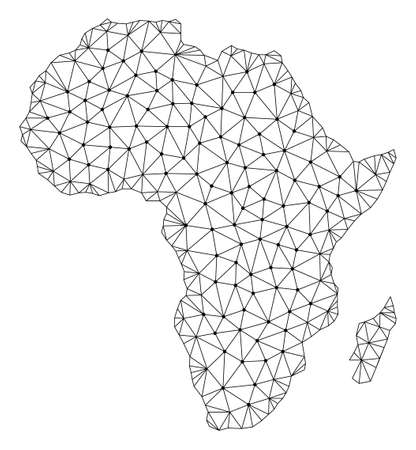 Polygonal mesh map of Africa in black color. Abstract mesh lines, triangles and points with map of Africa. Wire frame 2D polygonal line network in vector format. Carcass model for patriotic purposes.