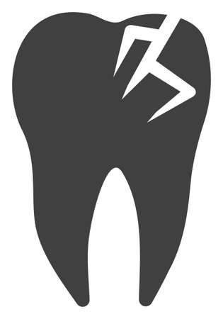 Tooth fracture vector icon symbol. Flat pictogram is isolated on a white background. Tooth fracture pictogram designed with simple style.