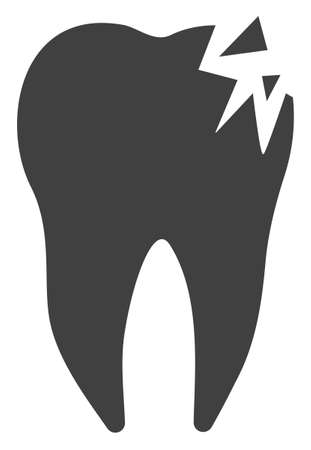 Cracked tooth vector icon symbol. Flat pictogram is isolated on a white background. Cracked tooth pictogram designed with simple style.
