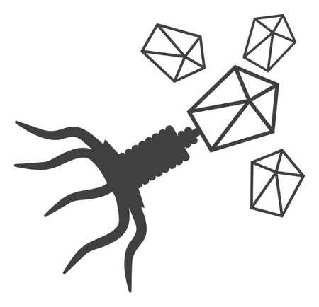 Symbole d'icône de vecteur de réplication de virus. Le pictogramme plat est isolé sur fond blanc. Pictogramme de réplication de virus conçu avec un style simple.
