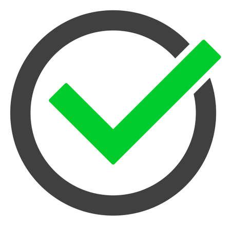 Accepter le symbole d'icône raster de tique. Le pictogramme plat est isolé sur fond blanc. Acceptez le pictogramme de coche conçu avec un style simple.