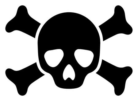 Death skull raster icon symbol. Flat pictogram is isolated on a white background. Death skull pictogram designed with simple style.