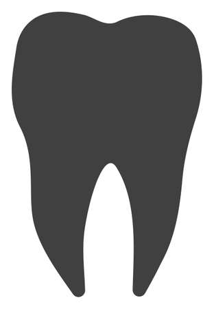 Dental tooth raster icon symbol. Flat pictogram is isolated on a white background. Dental tooth pictogram designed with simple style.