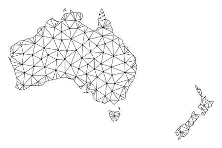 Polygonal mesh map of Australia and New Zealand in black color. Abstract mesh lines, triangles and points with map of Australia and New Zealand. Wire frame 2D polygonal line network in vector format.