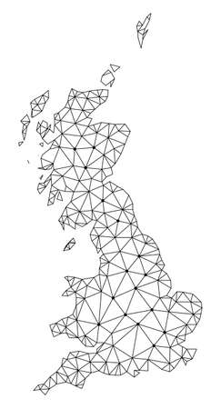 Polygonal mesh map of Great Britain in black color. Abstract mesh lines, triangles and points with map of Great Britain. Wire frame 2D polygonal line network in vector format.