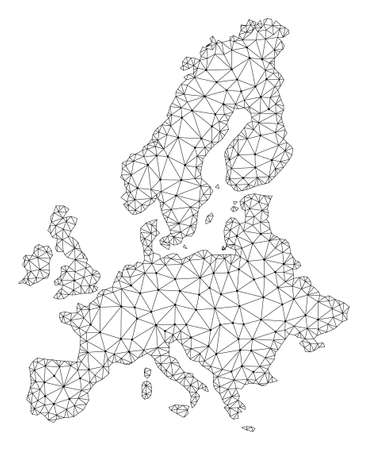 Polygonal mesh map of Euro Union in black color. Abstract mesh lines, triangles and points with map of Euro Union. Wire frame 2D polygonal line network in vector format. Illustration