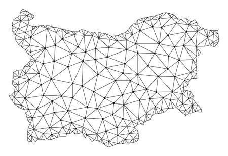 Polygonal mesh map of Bulgaria in black color. Abstract mesh lines, triangles and points with map of Bulgaria. Wire frame 2D polygonal line network in vector format.