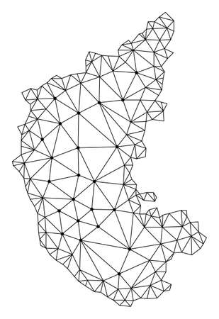 Polygonal mesh map of Karnataka State in black color. Abstract mesh lines, triangles and points with map of Karnataka State. Wire frame 2D polygonal line network in vector format. Illustration