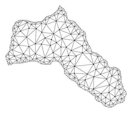 Polygonal mesh map of Kurdistan in black color. Abstract mesh lines, triangles and points with map of Kurdistan. Wire frame 2D polygonal line network in vector format.