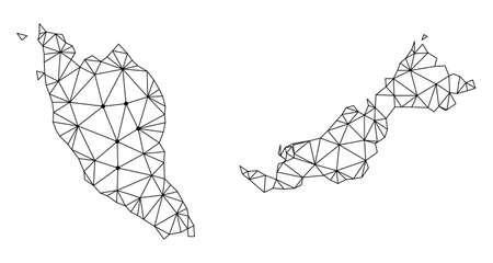 Wielokątna mapa oczek Malezji w kolorze czarnym. Abstrakcyjne linie siatki, trójkąty i punkty z mapą Malezji. Sieć linii wielokątnych 2D z drutu w formacie wektorowym. Ilustracje wektorowe