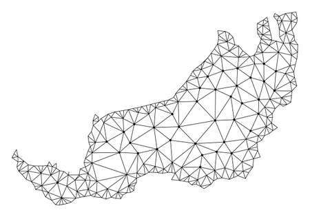 Polygonal mesh map of Malaysian Sarawak in black color. Abstract mesh lines, triangles and points with map of Malaysian Sarawak. Wire frame 2D polygonal line network in vector format.