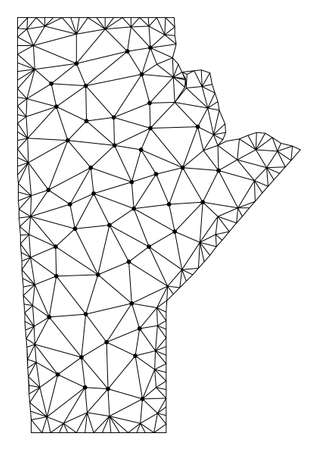 Polygonal mesh map of Manitoba Province in black color. Abstract mesh lines, triangles and points with map of Manitoba Province. Wire frame 2D polygonal line network in vector format.