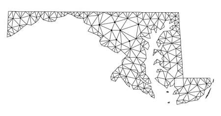 Polygonal mesh map of Maryland State in black color. Abstract mesh lines, triangles and points with map of Maryland State. Wire frame 2D polygonal line network in vector format.