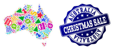 Christmas sale collage of mosaic map of Australia and corroded stamp. Vector blue seal with corroded rubber texture for Christmas Sales. Flat design for sale templates.