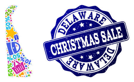 Christmas sale combination of mosaic map of Delaware State and corroded stamp. Vector blue seal with corroded rubber texture for Christmas Sales. Flat design for sale purposes.