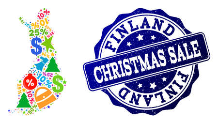 Christmas sale combination of mosaic map of Finland and rubber seal. Vector blue watermark with scratched rubber texture for Christmas Sales. Flat design for shopping templates.