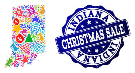 Christmas sale collage of mosaic map of Indiana State and unclean stamp seal. Vector blue seal with unclean rubber texture for Christmas Sales. Flat design for shopping posters.