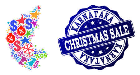 Christmas sale composition of mosaic map of Karnataka State and grunge stamp seal. Vector blue seal with grunge rubber texture for Christmas Sales. Flat design for advertisement posters. Illustration