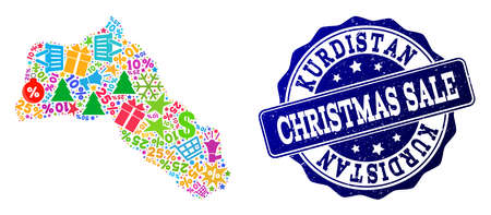 Christmas sale composition of mosaic map of Kurdistan and rubber stamp. Vector blue watermark with scratched rubber texture for Christmas Sales. Flat design for sale illustrations. Çizim