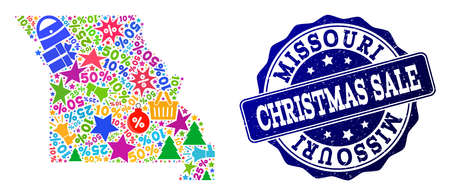 Christmas sale combination of mosaic map of Missouri State and rubber stamp. Vector blue imprint with scratched rubber texture for Christmas Sales. Flat design for sale templates.