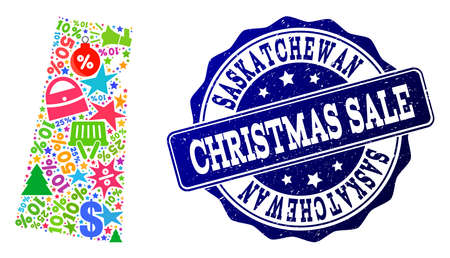 Christmas sale collage of mosaic map of Saskatchewan Province and unclean seal. Vector blue watermark with unclean rubber texture for Christmas Sales. Flat design for shopping illustrations.
