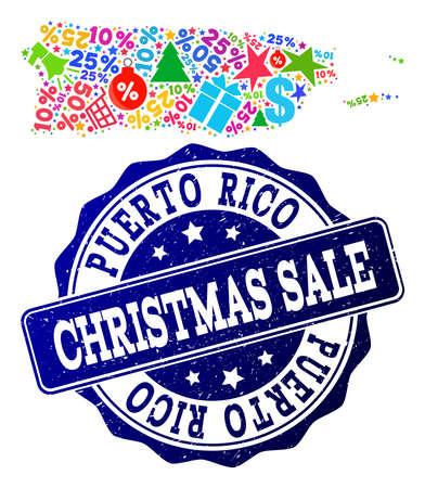 Christmas sale collage of mosaic map of Puerto Rico and corroded seal. Vector blue seal with corroded rubber texture for Christmas Sales. Flat design for sale illustrations.