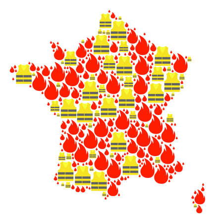 Map of France collage composed for Gilet Jaunes Protest illustrations. Vector abstract collage of map of France with yellow vest against fuel price rising. Flat design for patriotic posters. Illustration