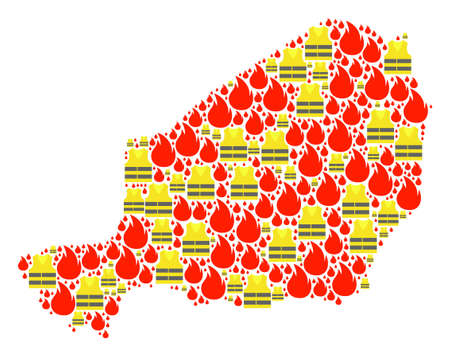 Map of Niger collage composed for Gilet Jaunes Protest illustrations. Vector abstract collage of map of Niger with yellow vest against fuel price rising. Flat design for political illustrations. Illustration