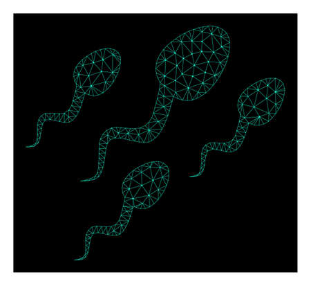 Polygonal mesh sperm cells. Abstract lines, triangles and points combined into sperm cells. Wire frame 2D polygonal line network in vector format on a dark blue background. Illustration