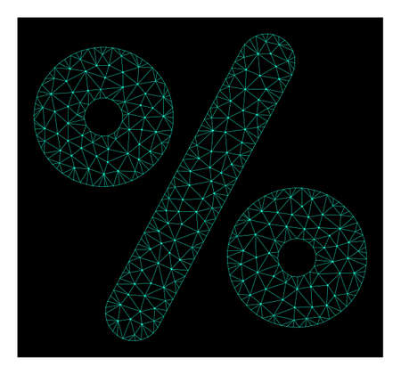 Polygonal mesh percent. Abstract lines, triangles and points organized into percent. Wire frame 2D polygonal line network in vector format on a dark blue background.