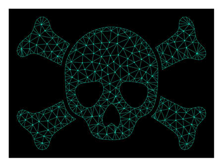 Polygonal mesh death skull. Abstract lines, triangles and points combined into death skull. Wire frame 2D polygonal line network in vector format on a dark blue background.