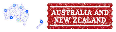 Air ticket combination of polygonal mesh map of Australia and New Zealand and rubber stamp seal. Vector red seal with unclean rubber texture for airtickets. Abstract blue mesh lines,