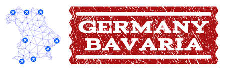 Air ticket composition of polygonal mesh map of Bavaria State and rubber stamp seal. Vector red imprint with distress rubber texture for airtickets. Abstract blue mesh lines,