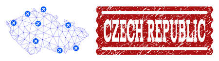 Air ticket combination of polygonal mesh map of Czech Republic and grunge stamp seal. Vector red seal with grunge rubber texture for airtickets. Abstract blue mesh lines,