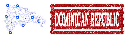 Air ticket composition of polygonal mesh map of Dominican Republic and corroded stamp seal. Vector red seal with corroded rubber texture for airtickets. Abstract blue mesh lines, Иллюстрация