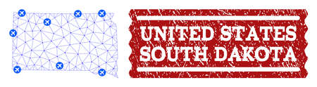 Air ticket collage of polygonal mesh map of South Dakota State and textured stamp seal. Vector red seal with distress rubber texture for airtickets. Abstract blue mesh lines,