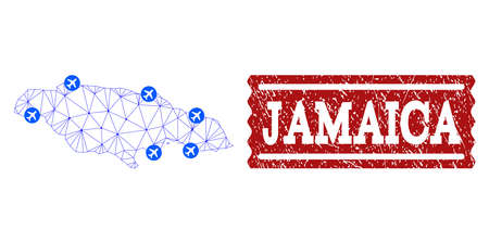 Air ticket collage of polygonal mesh map of Jamaica and scratched stamp seal. Vector red seal with unclean rubber texture for airtickets. Abstract blue mesh lines,