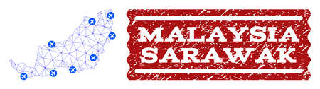 Air ticket composition of polygonal mesh map of Malaysian Sarawak and rubber stamp. Vector red watermark with corroded rubber texture for airtickets. Abstract blue mesh lines,