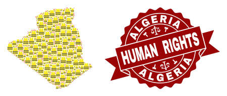 Human rights collage of yellow vest map of Algeria and seal stamp template. Map of Algeria collage designed for Gilet Jaunes protest illustrations. Illustration
