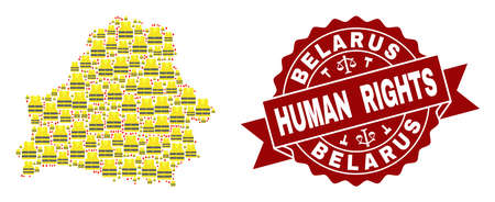 Human rights collage of yellow vest map of Belarus and stamp template. Map of Belarus collage composed for Gilet Jaunes protest illustrations.