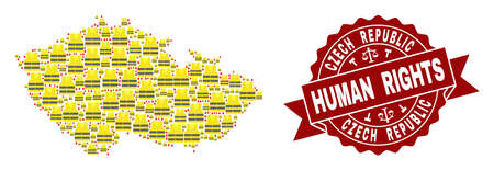 Human rights composition of yellow vest map of Czech Republic and seal template. Map of Czech Republic collage created for Gilet Jaunes protest illustrations. Illustration